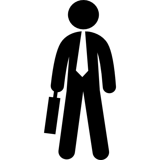 persona de negocios masculina sosteniendo una maleta  icono gratis