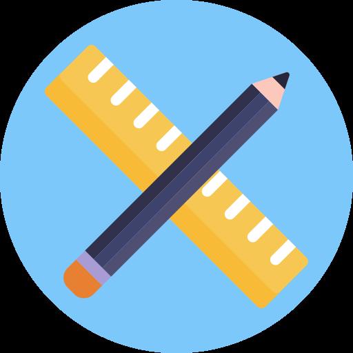 bleistift und lineal  kostenlos Icon