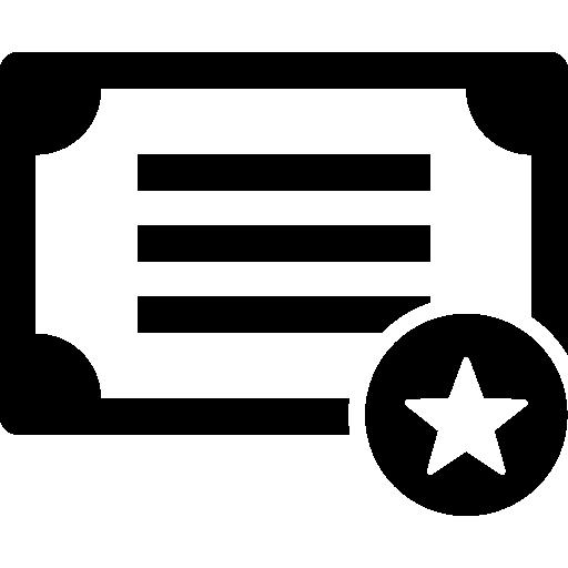 diplôme avec une étoile  Icône gratuit