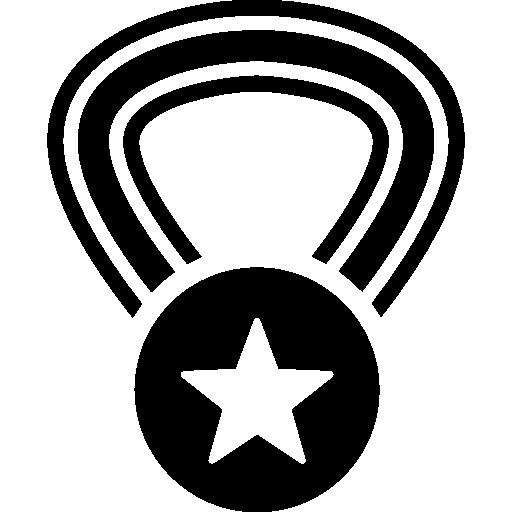 médaille de récompense avec une étoile sur un collier  Icône gratuit