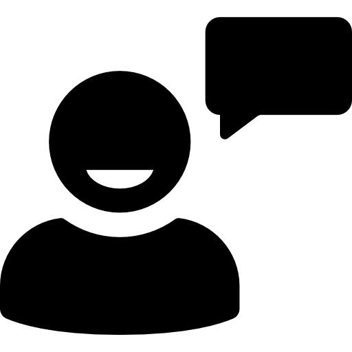 User talking with speech bubble  free icon
