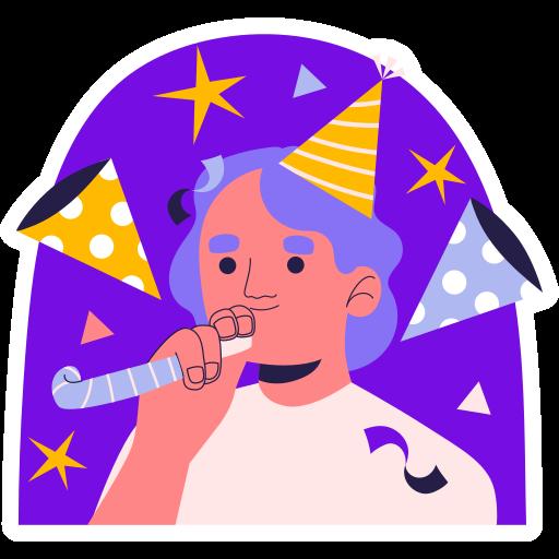soplador de fiesta  gratis sticker