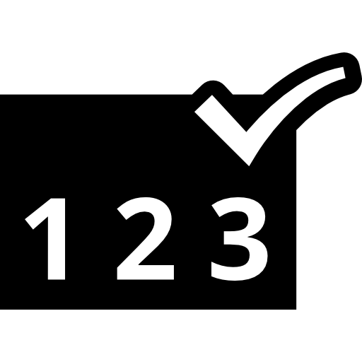 Numbers sequence verification symbol  free icon