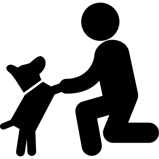 Dog in front of a man  free icon