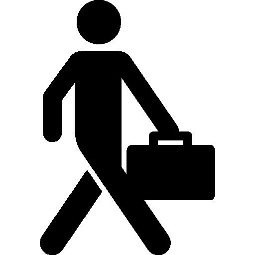 hombre de negocios caminando con maleta  icono gratis