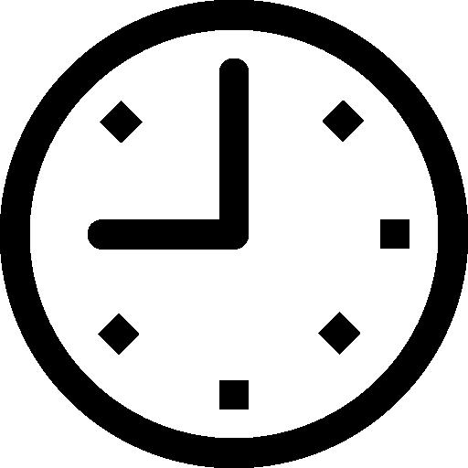 Nine oclock on circular clock  free icon