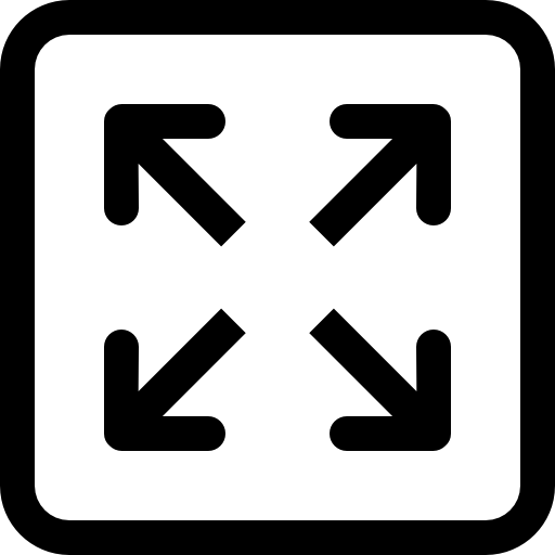 Full screen interface symbol of four arrows in square button  free icon