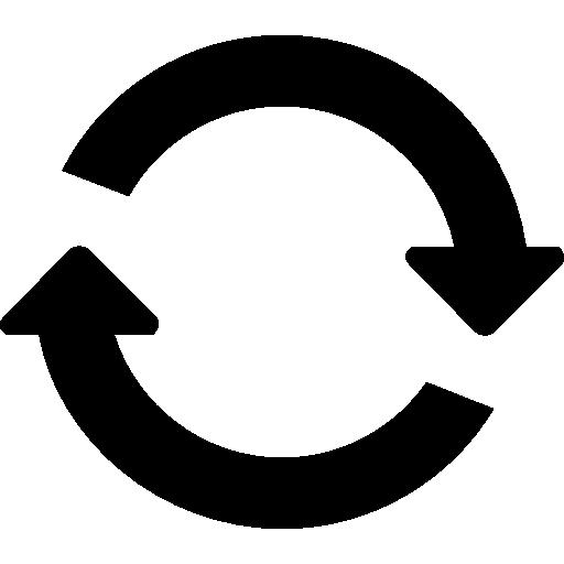 cercle de deux flèches rotatives circulaires dans le sens horaire  Icône gratuit
