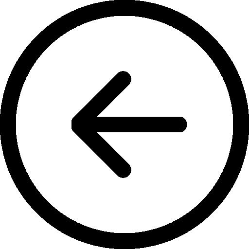 Back left arrow circular button outline  free icon