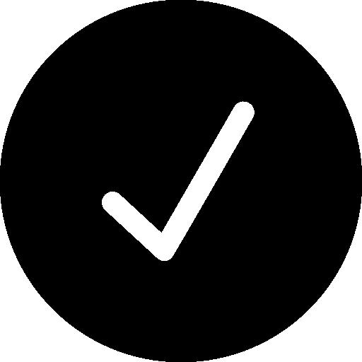 vérifier le symbole du bouton noir circulaire  Icône gratuit