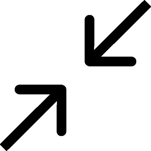 colapsar dos flechas símbolo diagonal  icono gratis