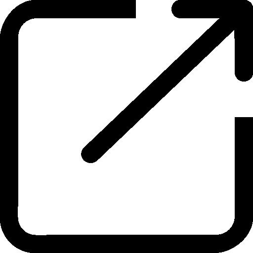 seta superior direita botão quadrado símbolo delineado  grátis ícone