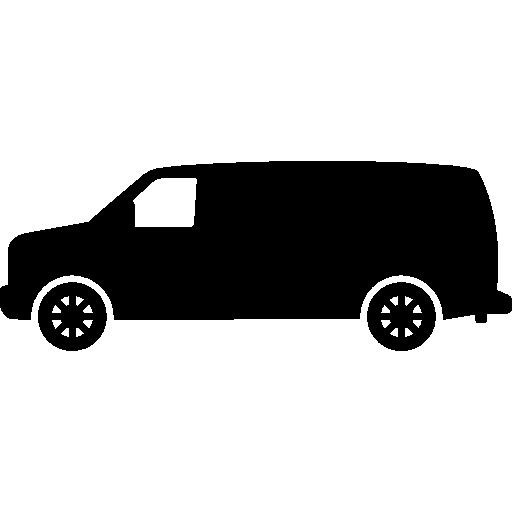 vue latérale du transport van noir pointant vers la gauche  Icône gratuit