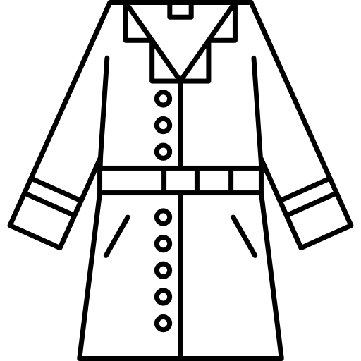 jaqueta de tecido da moda com contorno longo  grátis ícone