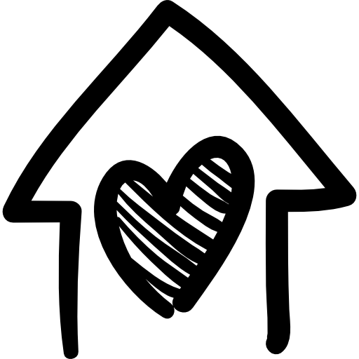House with heart hand drawn building  free icon