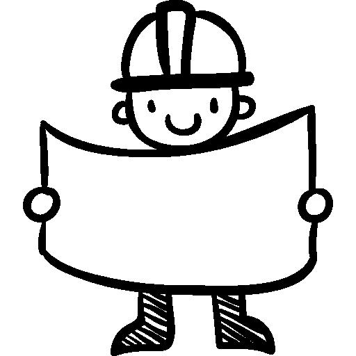 ouvrier dessiné à la main du constructeur  Icône gratuit