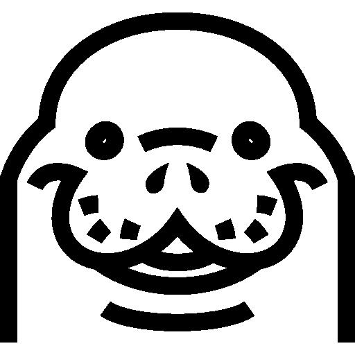 바다 코끼리 머리 정면 윤곽  무료 아이콘