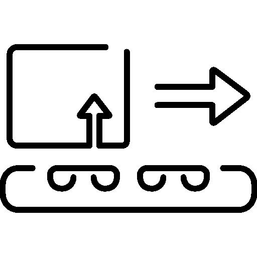 transport de colis logistique sur bande transporteuse  Icône gratuit
