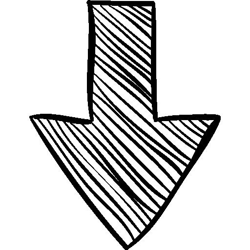 bosquejo de flecha hacia abajo icono gratis