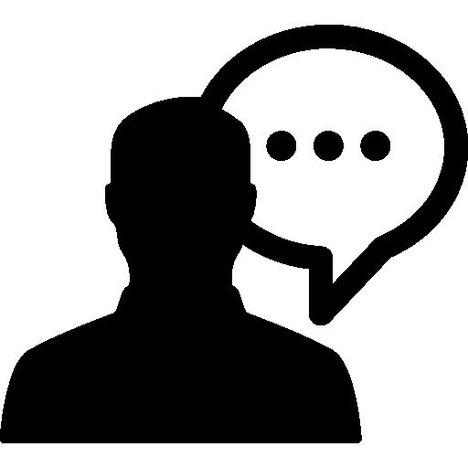 silhouette masculine parlant  Icône gratuit
