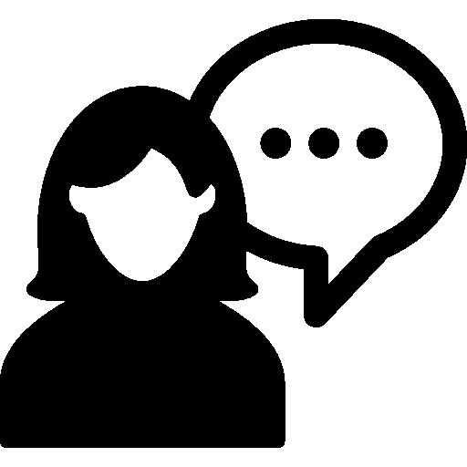 silhouette féminine parlant  Icône gratuit
