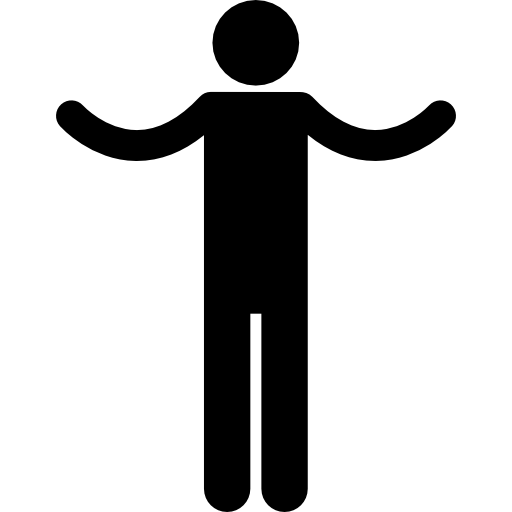 Silhouette with spread arms  free icon