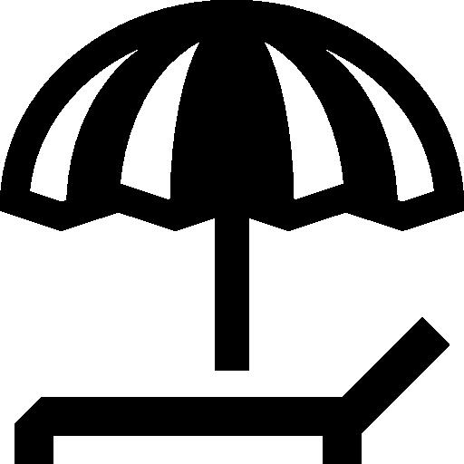 parasol et chaise longue  Icône gratuit