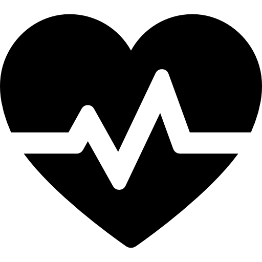 Heart with electrocardiogram  free icon