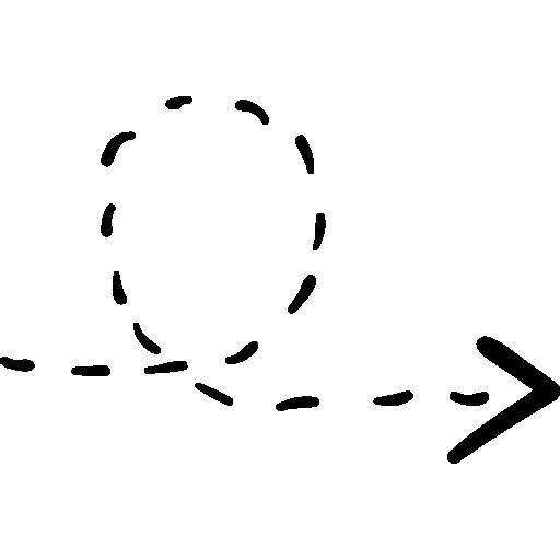 Повернутая стрелка вправо с пунктирной линией  бесплатно иконка