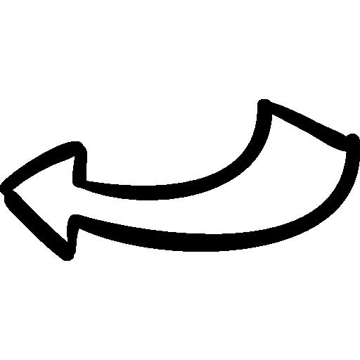 Back drawn arrow  free icon