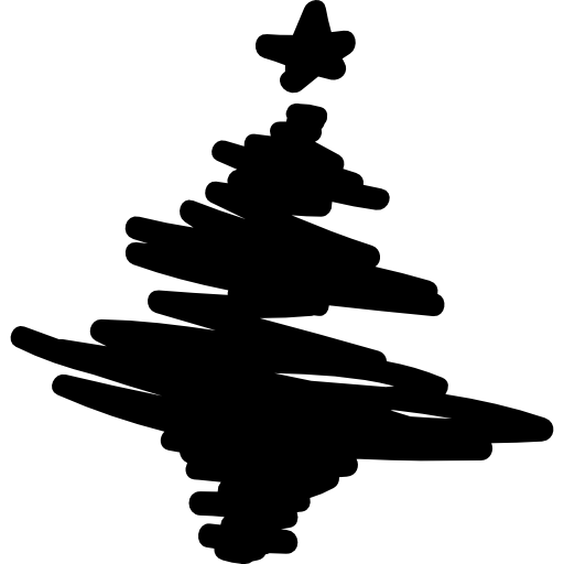 Christmas tree drawn with scribbles  free icon