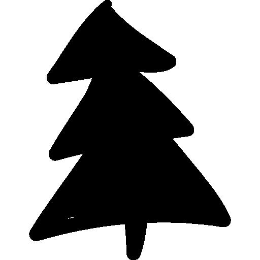 Christmas tree doodle  free icon