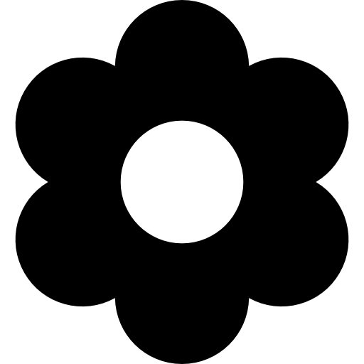Flower with rounded petals  free icon