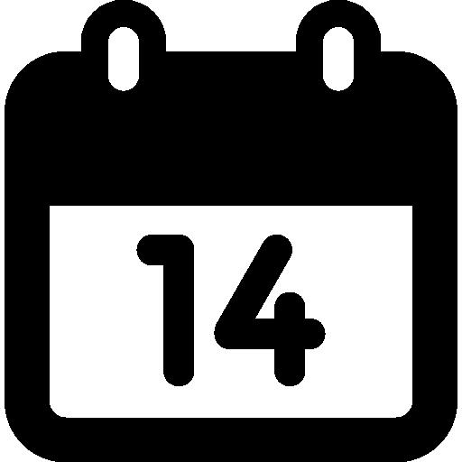calendário diário, dia 14  grátis ícone