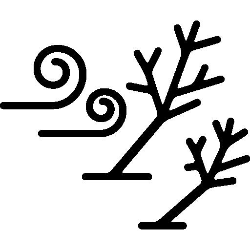 Ветер и гнутые деревья  бесплатно иконка