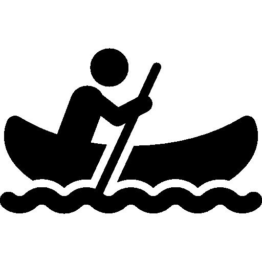 hombre en canoa  icono gratis