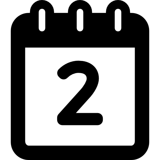 Day Two Calendar  free icon