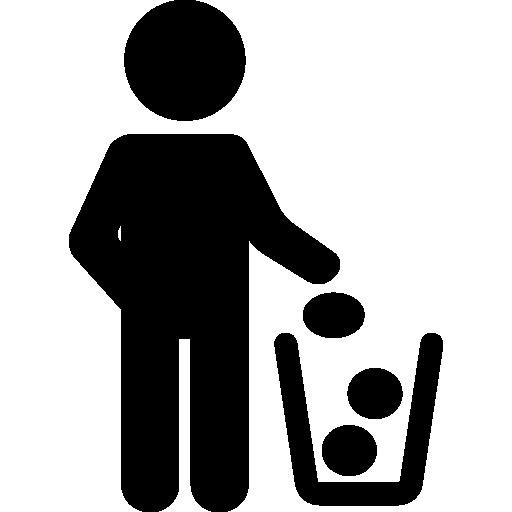homem e lixeira  grátis ícone