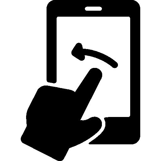 téléphone avec écran tactile et flèche gauche  Icône gratuit