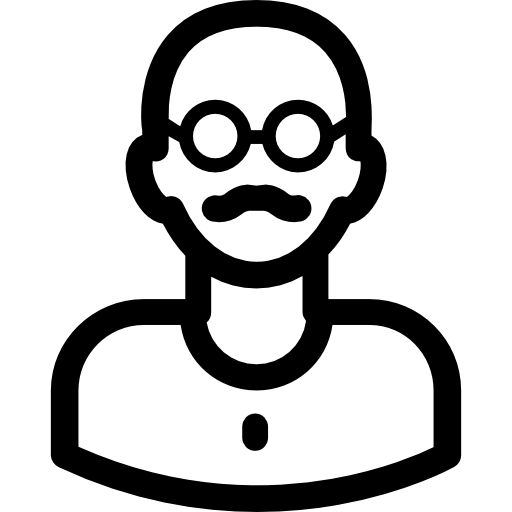 Bald man with mostache and glasses  free icon